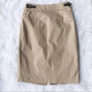 Calvin Klein Khaki pencil skirt 2 small stretch